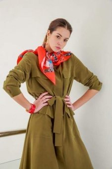 Red designer silk scarf named Moscow stars, Coral
