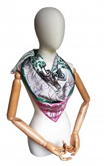 Green Gray designer silk scarf named Troyka