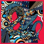 Red Blue Black designer silk scarf named Dragon