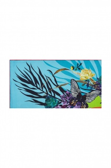 Blue Yellow designer silk scarf named Lilac