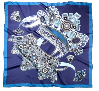 Blue designer silk scarf named Kokoshniki (blue)
