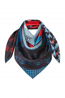 Blue Red Turquoise designer silk scarf named Order of the Elephant