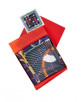 Blue Green designer silk scarf named Horns