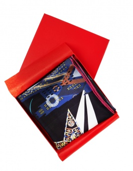 Black designer silk scarf named Moscow stars, Black