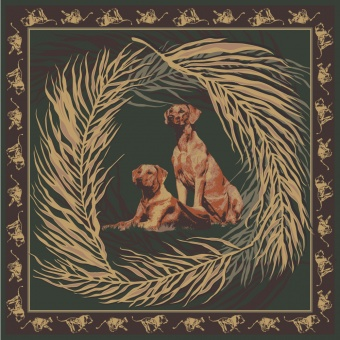 Brown Green Gold designer silk scarf named Rhodesian Ridgeback