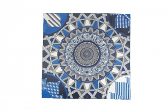 Blue Gray designer silk scarf named Shukhow tower