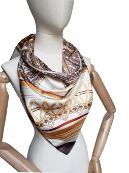 Cream Gold Brown designer silk scarf named The Eiffel Tower (beige)
