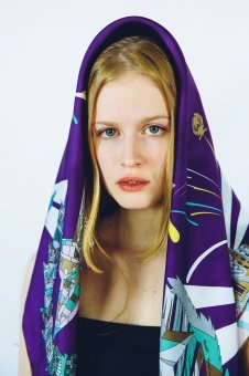 Purple Turquoise designer silk scarf named Moscow stars, Purple